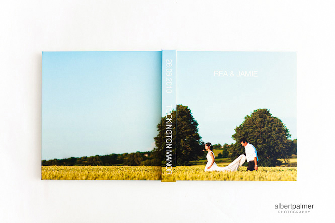 front and back cover of albert palmer photography wedding album