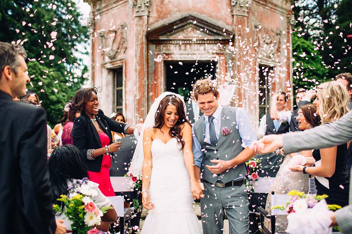 wedding confetti at larmer tree gardens