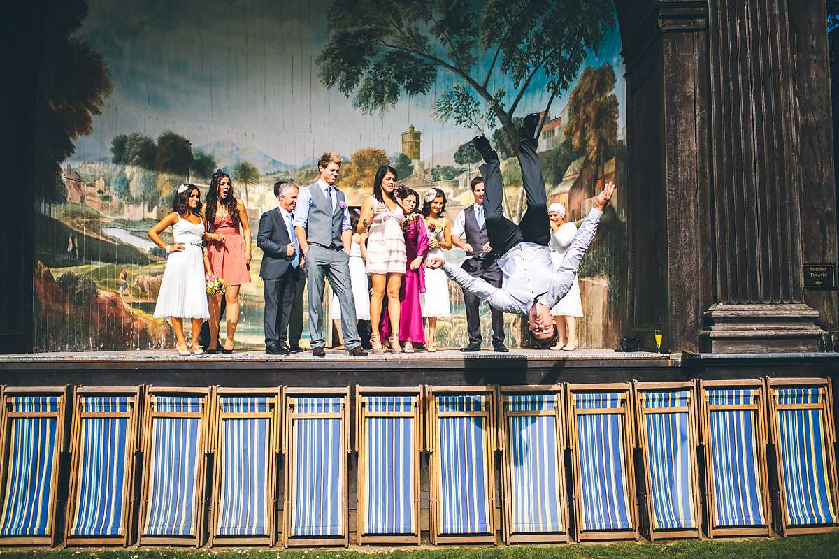 backflip at wedding