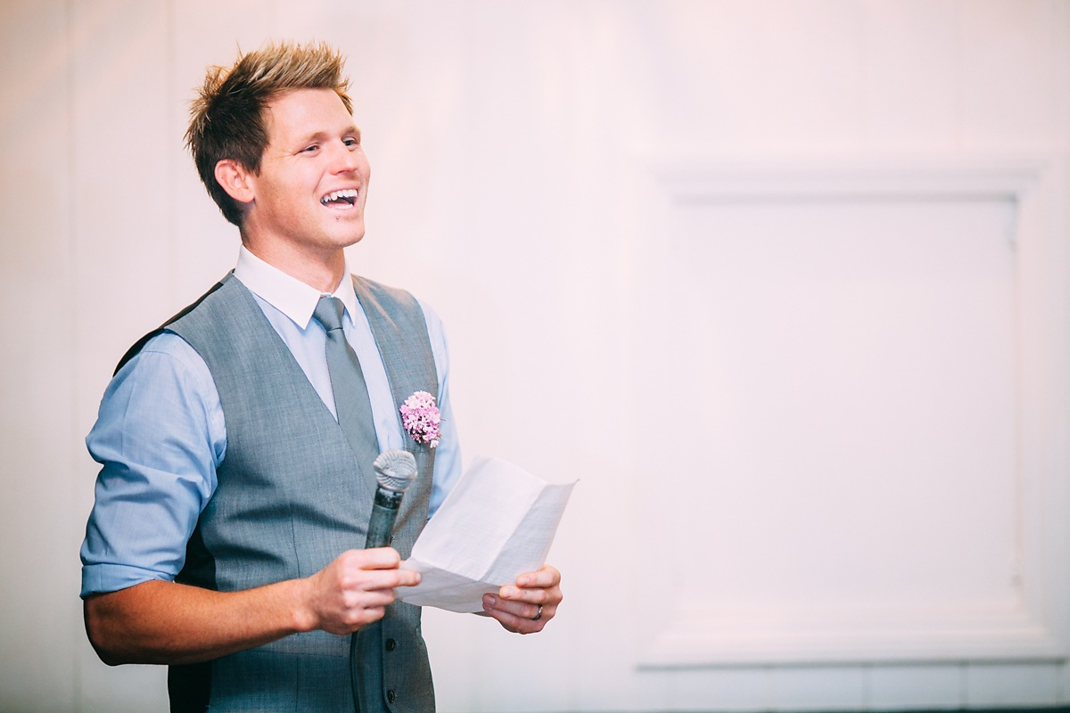 groom giving his wedding speech
