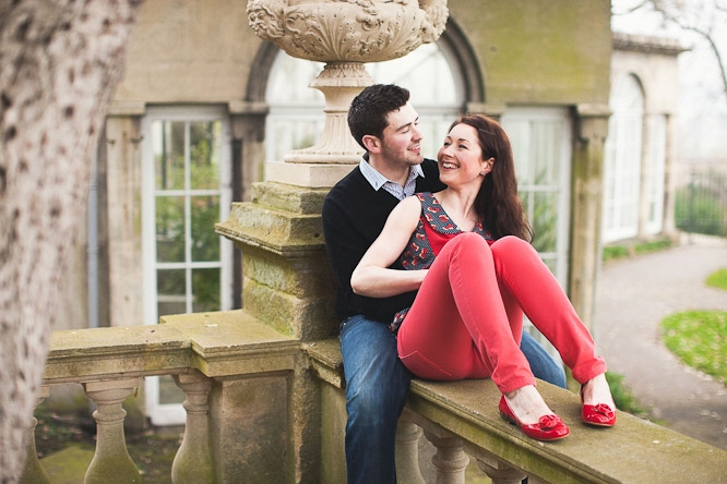 cool pink trousers in an engagement shoot