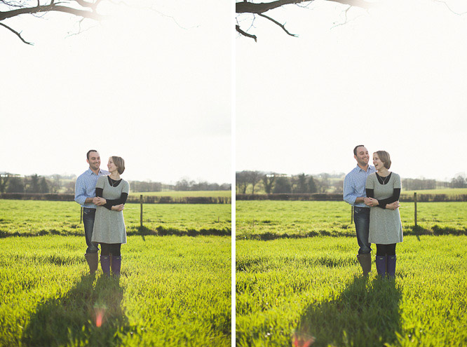 hannah and richard standing together in a beautiful green field