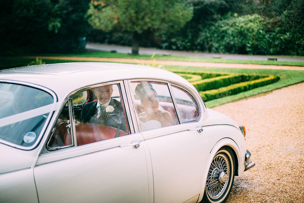 white jaguar wedding car