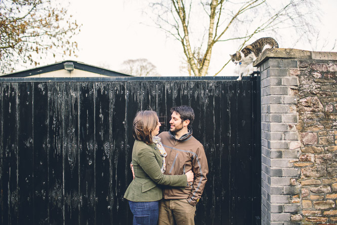 cat in an engagement shoot