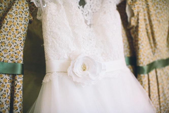 flower on a wedding dress
