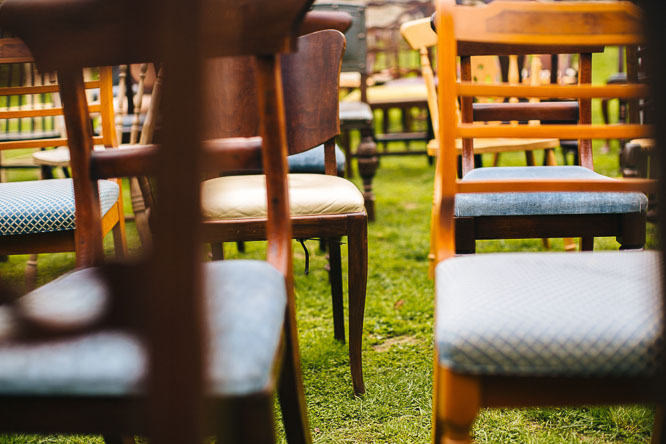 cool antique wedding chairs at Lyde Court