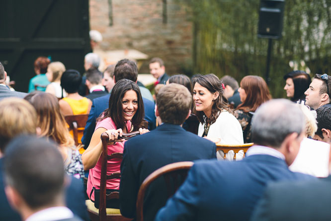 wedding guests waiting at Lyde Court