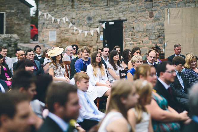guests sitting at outdoor ceremony in herefordshire