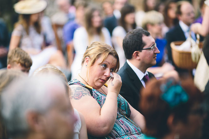 guest crying at wedding ceremony