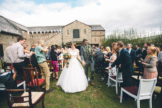 outdoor wedding ceremony at Lyde Court