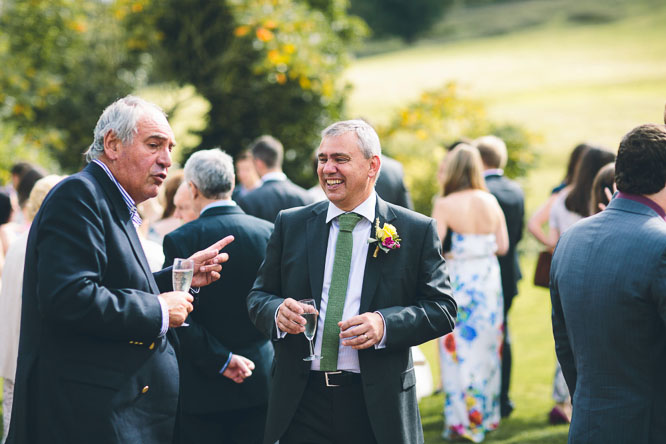 guests at summer wedding at Lyde Court