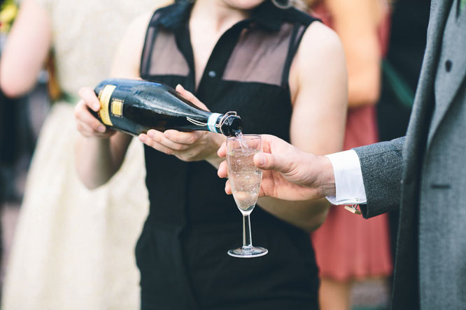 champagne being severed