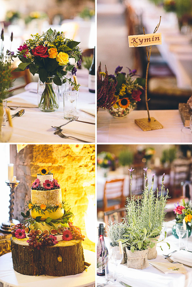 lavender wedding table decorations at Lyde Court