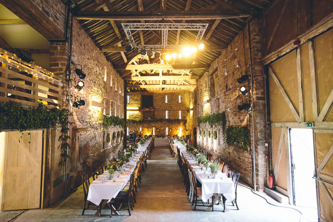 inside Lyde Court barn at a wedding