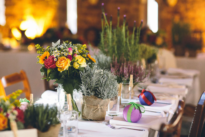 wedding table decorations herbs