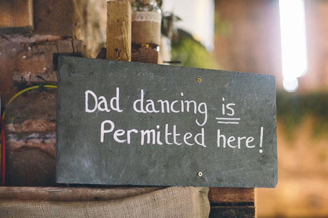dad dancing wedding sign