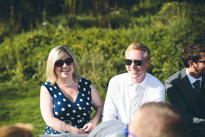 friends relaxing at lyde court wedding