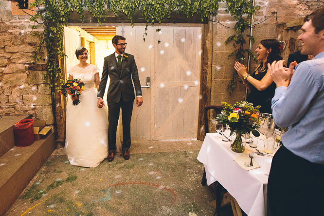 jenny and dom enter the barn of Lyde Court