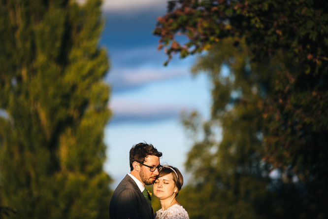 bride and groom in the sunshine