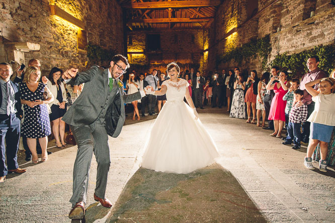 fun first wedding dance at Lyde Court