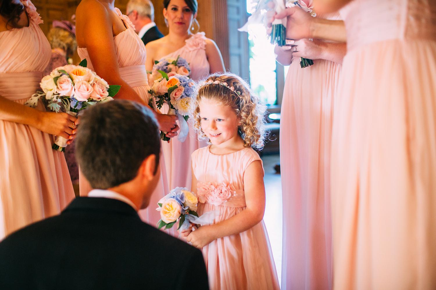 flower girl wearing pink