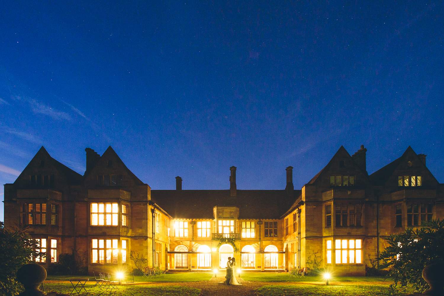 outside photo of coombe lodge wedding under the stars
