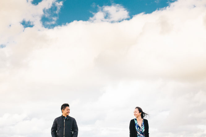 cloudy engagement shoot
