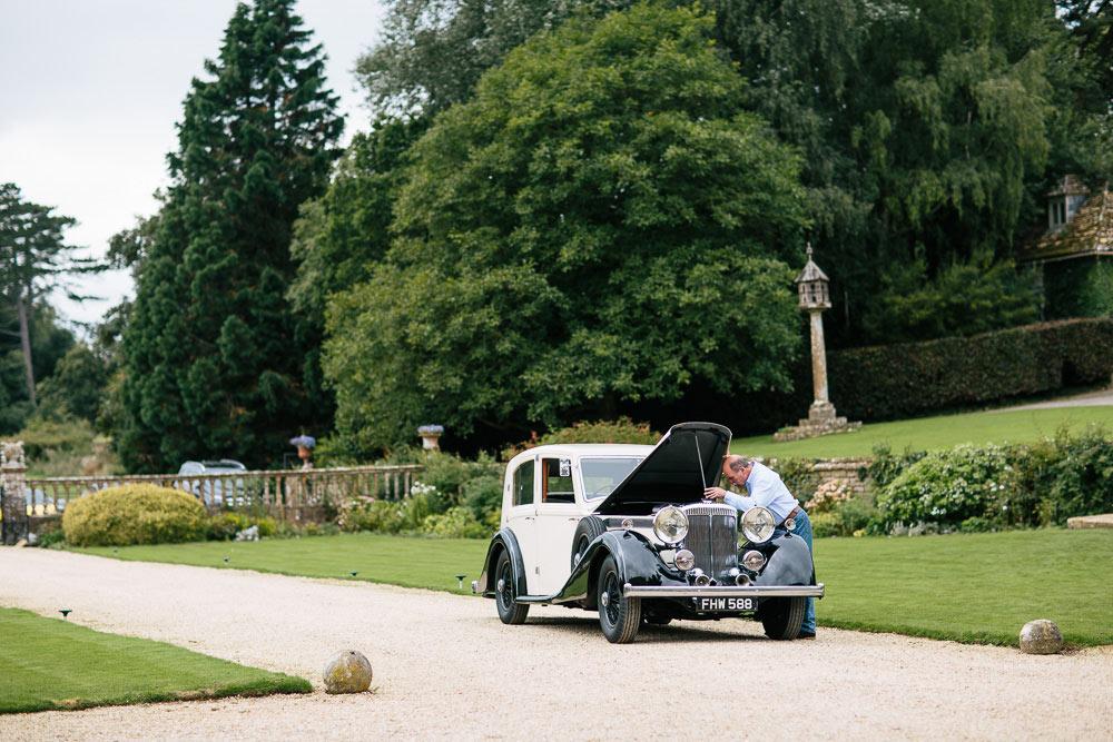 wedding car outside Brympton House