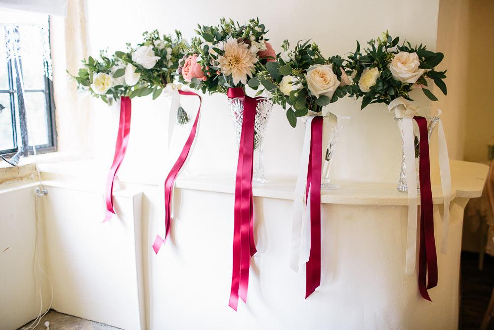 burgundy wedding flowers at Brympton House