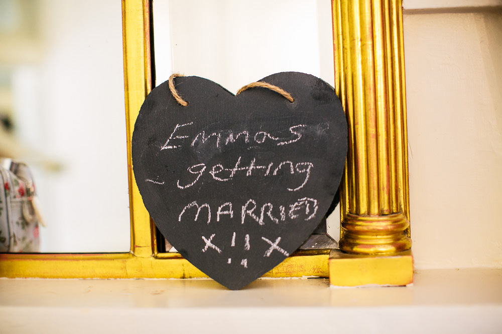 fun wedding sign at Brympton House