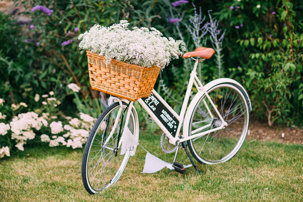 vintage bike wedding decoration at Caswell House