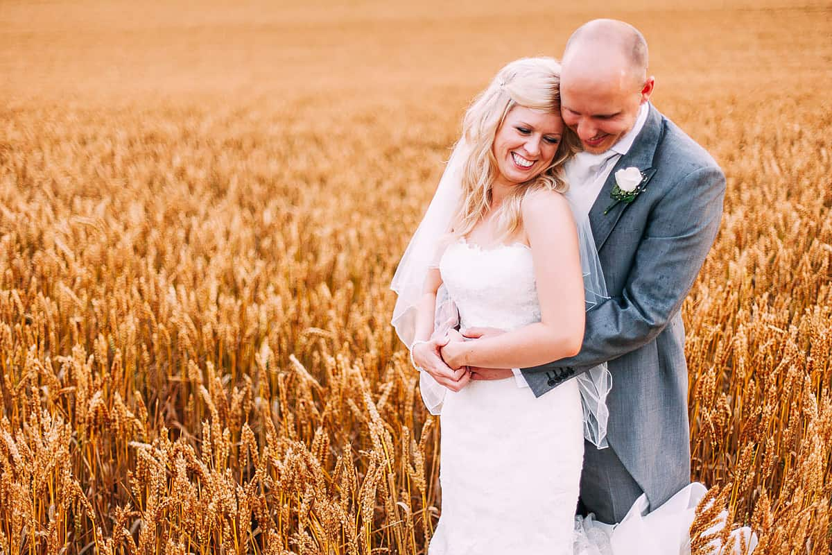 natural wedding portrait of bride and groom