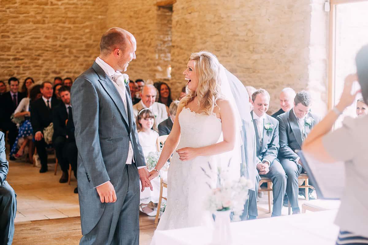 fun wedding ceremony at Kingscote Barn