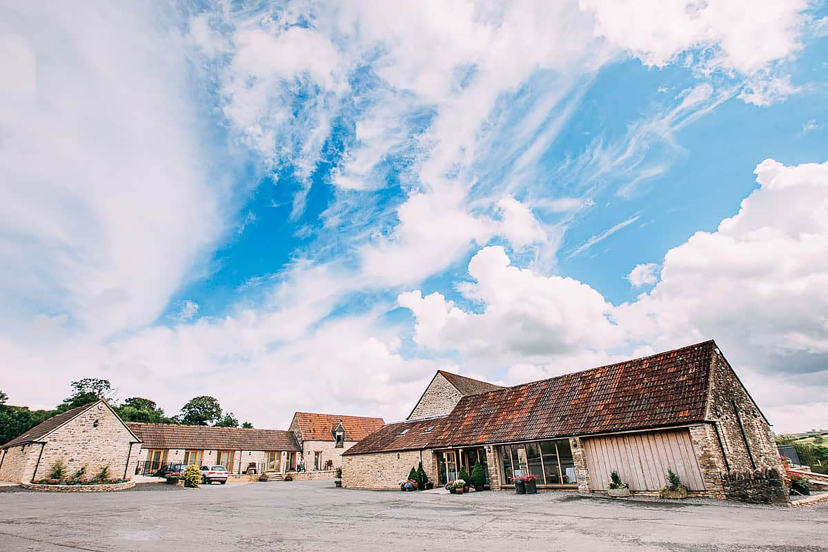 Kingscote Barn from the outside