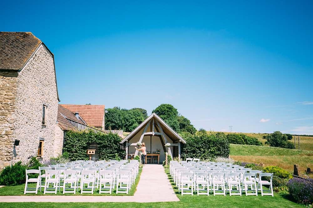 outdoor wedding kingscote barn