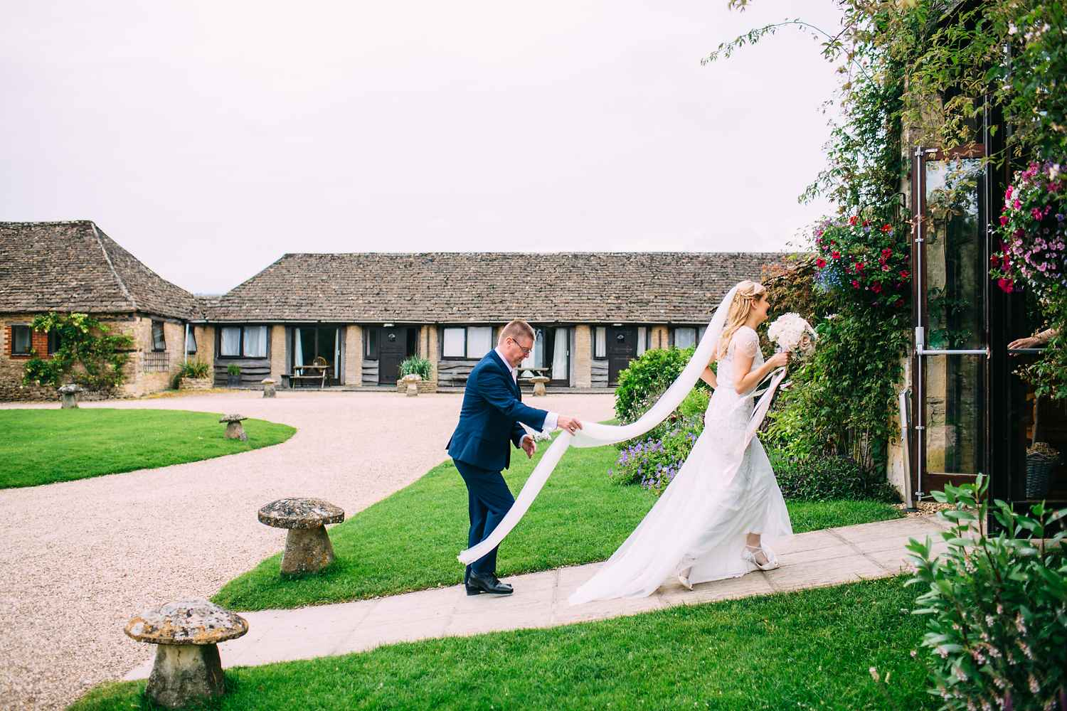 bride walking to Great Tythe Barn