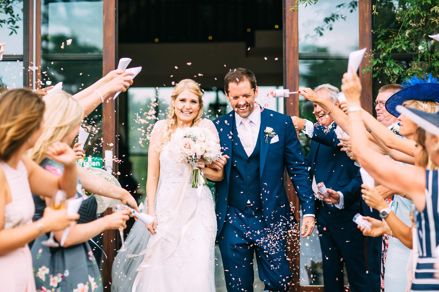 confetti photo barn wedding