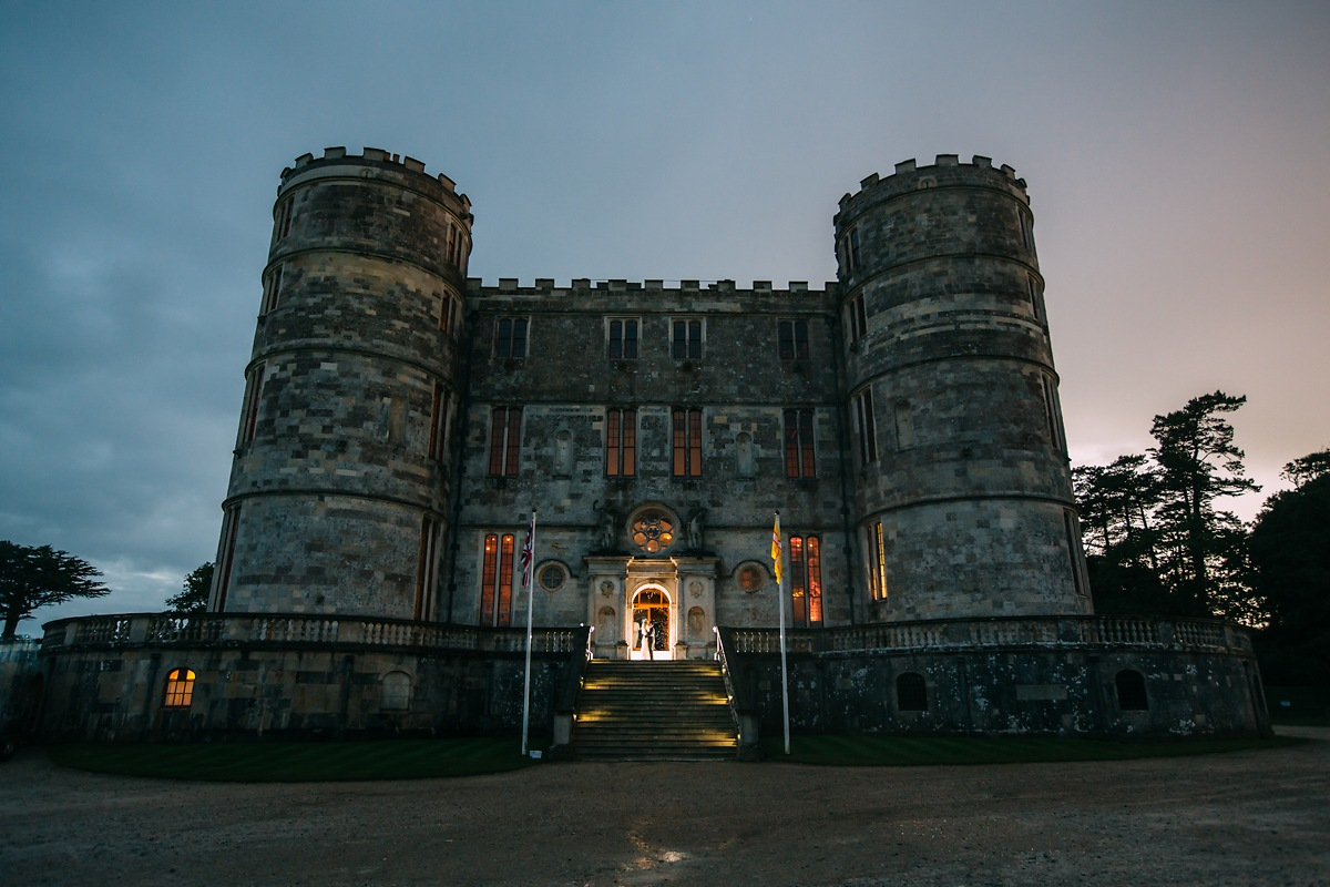Lulworth Castle at night wedding photo