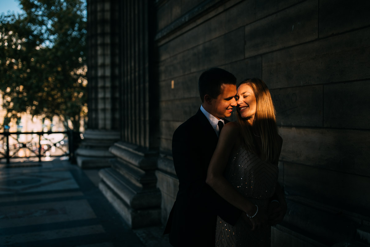 natural light on couple in paris