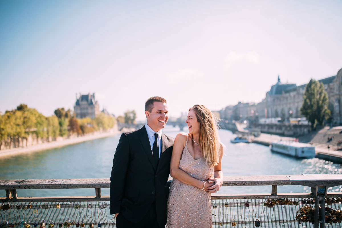 natural pre wedding photos in paris on bridge