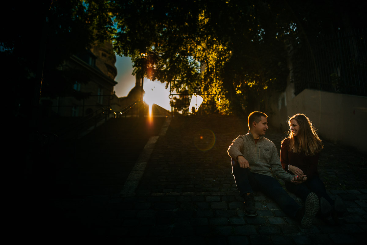 evening pre wedding shoot in Paris at sacre coeur
