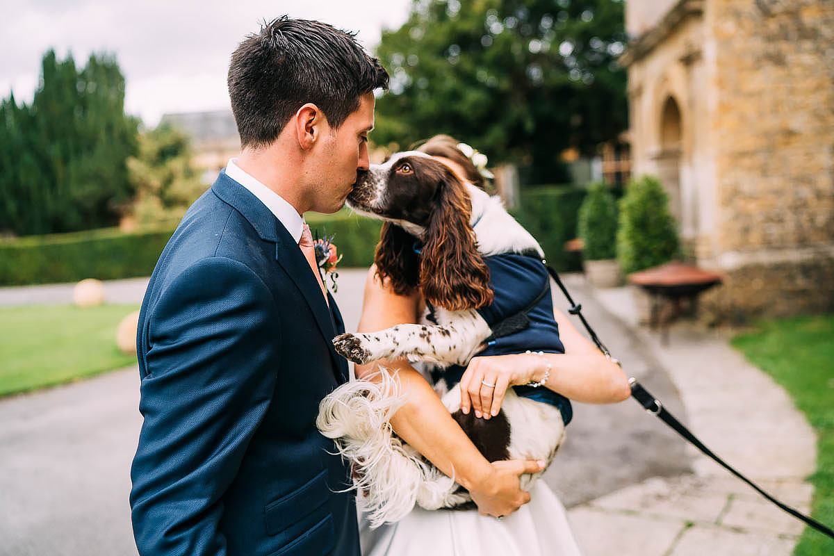 groom kissing a dog funny photo