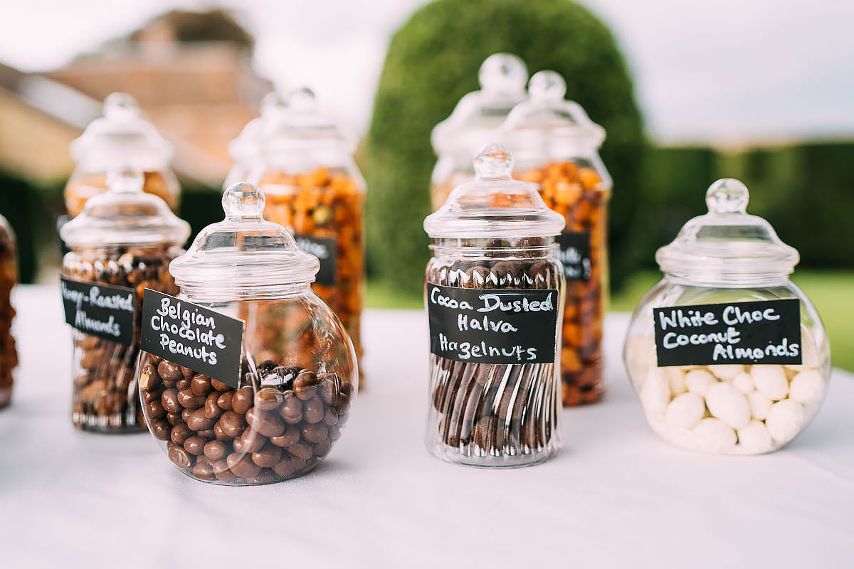 chocolate nuts at a wedding