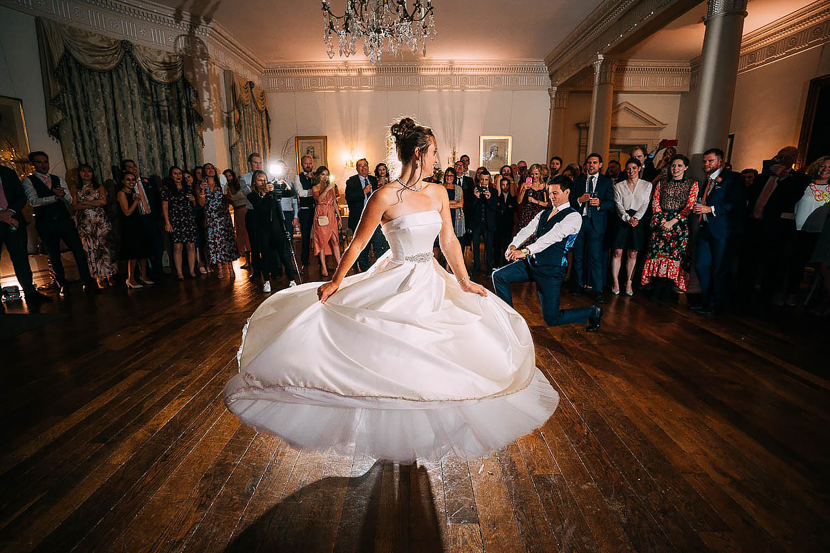 bride dancing at North Cadbury Court
