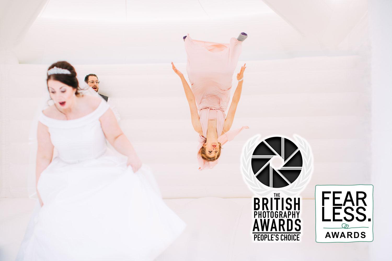 bouncy castle wedding photo