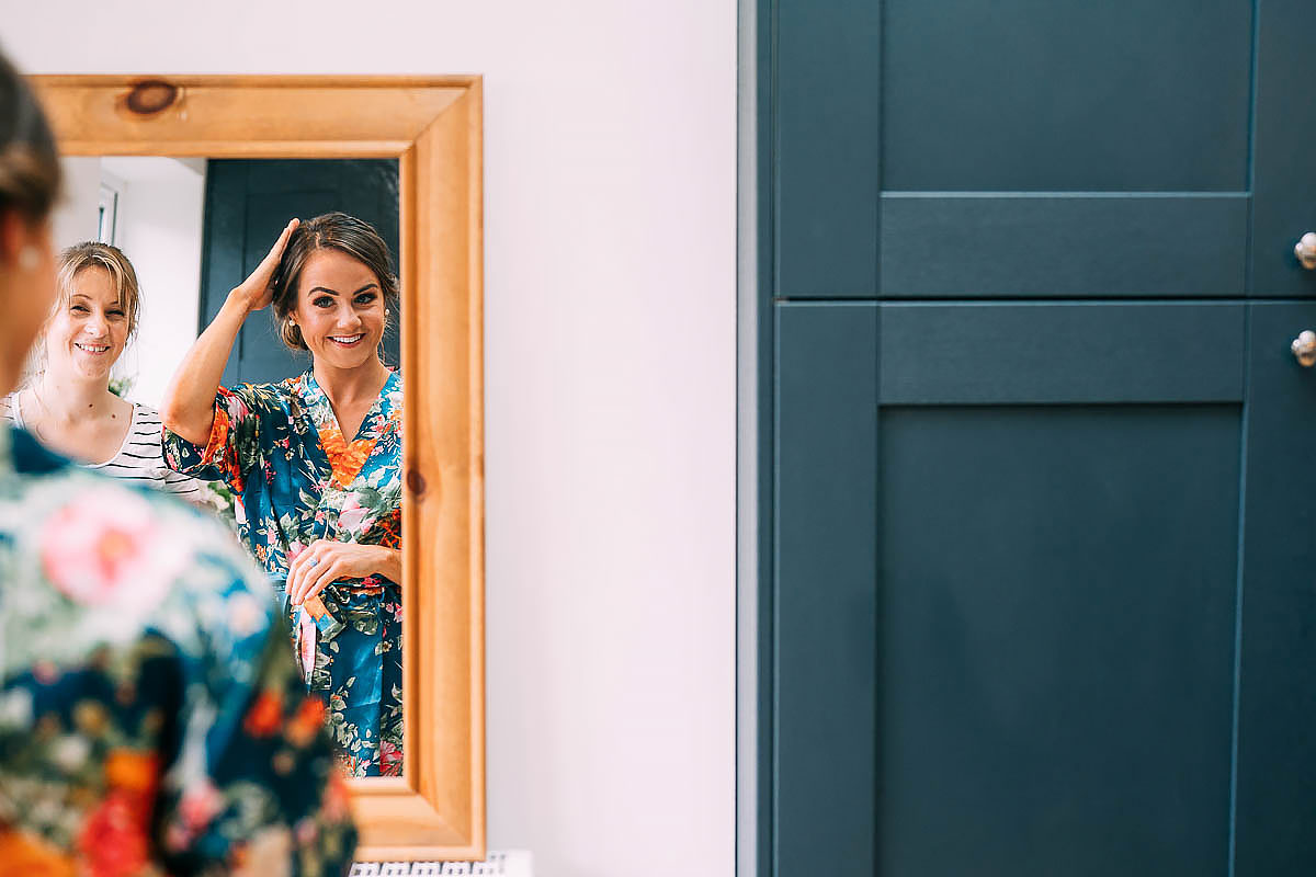 bride getting ready at home in Bristol for wedding