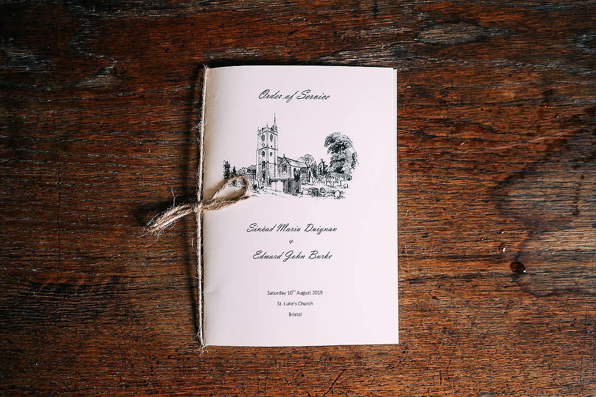 order of service church wedding bristol