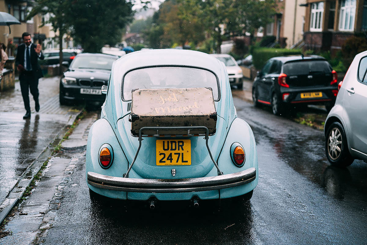 blue beetle wedding car