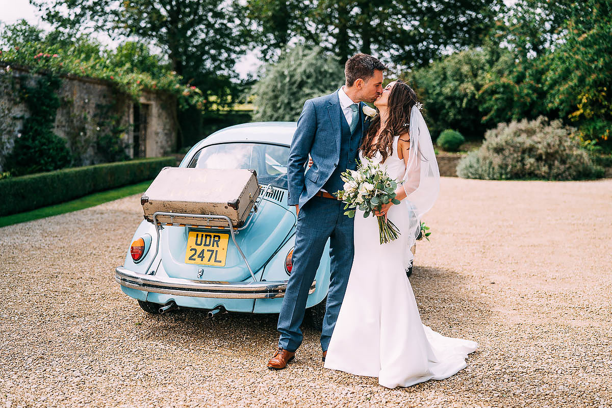 blue beetle wedding car