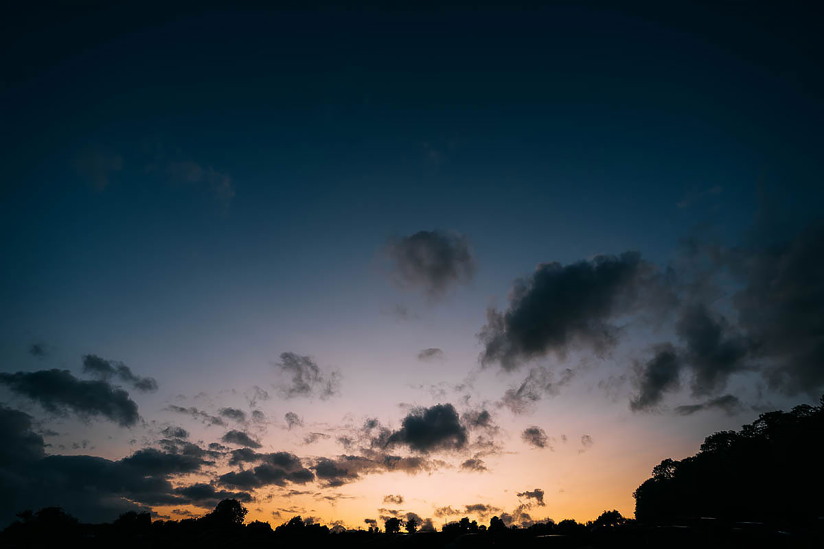 sunset at Hamswell House wedding